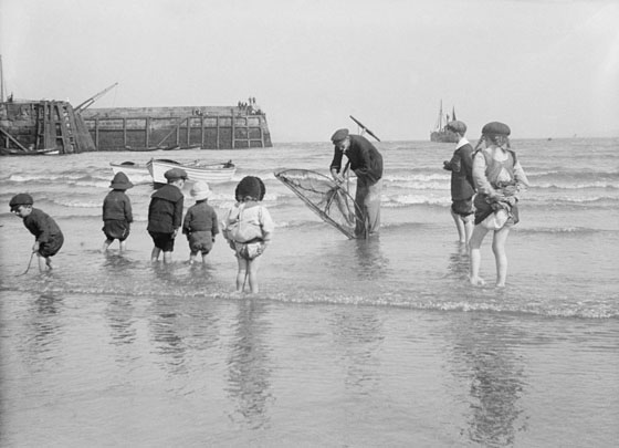 summer vintage bygone days toddlers on the beach
